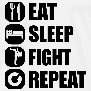 eat_sleep_fight_repeat_2_1f Tops - Camiseta premium hombre