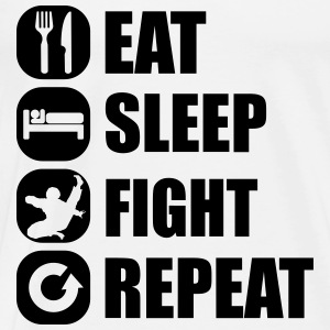 eat_sleep_fight_repeat_1_1f Manga larga - Camiseta premium hombre