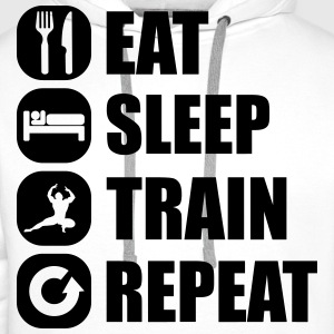 eat_sleep_train_repeat_13_1f Camisetas - Sudadera con capucha premium para hombre