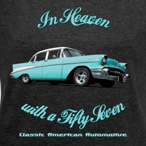 Womens boat neck top | 57 Chevy Belair-2015 | Clas - Women's T-shirt with rolled up sleeves