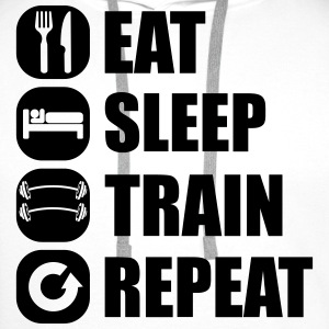 eat_sleep_train_repeat_5_1f Camisetas - Sudadera con capucha premium para hombre