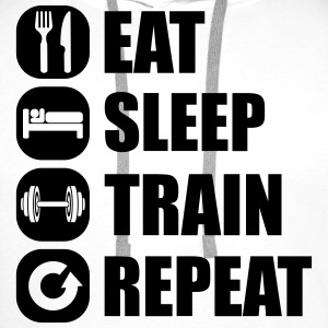 eat_sleep_train_repeat_2_1f Top - Felpa con cappuccio premium da uomo