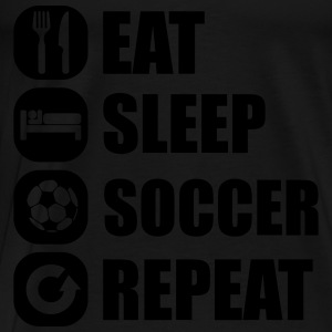 eat_sleep_soccer_repeat Topper - Premium T-skjorte for menn