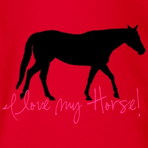 I love my horse Shirts - Organic Short-sleeved Baby Bodysuit