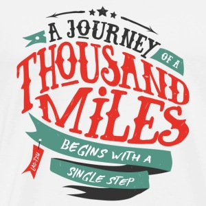 Hvit A journey of thousand miles Skjorter med lange armer - Premium T-skjorte for menn