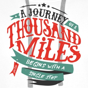 White A journey of thousand miles Mugs & Drinkware - Men's Premium Hoodie