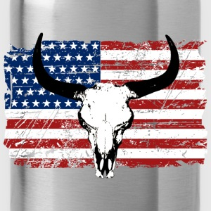 Buffalo Skull - USA Flag - Vintage Look Felpe - Borraccia