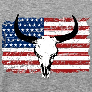 Buffalo Skull - USA Flag - Vintage Look Singlets - Premium T-skjorte for menn