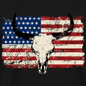 Buffalo Skull - USA Flag - Vintage Look Tank Tops - Herre premium T-shirt
