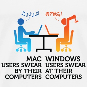 Mac users swear by their computers Bags & Backpacks - Men's Premium T-Shirt
