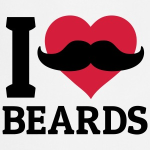 I love Beards me encanta la barba Manga larga - Delantal de cocina