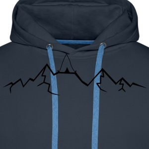 Alps mountains tent tents top mountains at T-Shirts - Men's Premium Hoodie