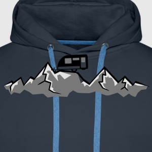 Mountains Alps Caravans above mountains at T-Shirts - Men's Premium Hoodie
