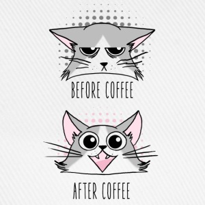 Grumpy and Happy cats before and After Coffee Débardeurs - Casquette classique
