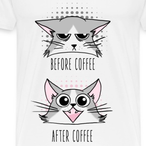 Grumpy and Happy cats before and After Coffee Débardeurs - T-shirt Premium Homme