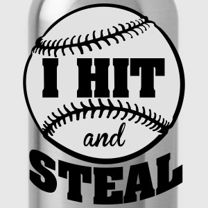 I hit and steal - Baseball Tops - Water Bottle