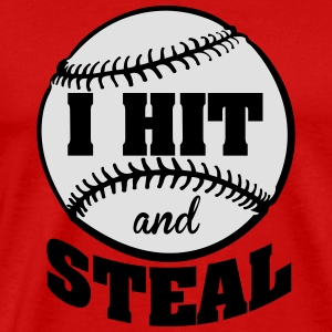 I hit and steal - Baseball Tanktoppar - Premium-T-shirt herr