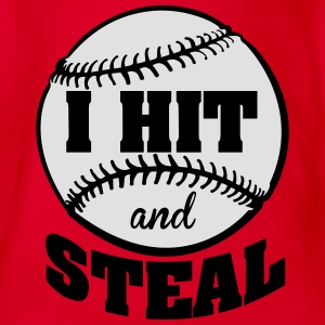 I hit and steal - Baseball Shirts - Organic Short-sleeved Baby Bodysuit