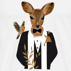 A deer in a black tuxedo Buttons - Men's Premium T-Shirt