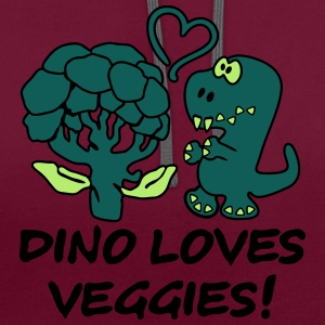 Dino Loves Veggies Broccoli T-shirts - Contrast hoodie