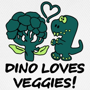 Dino Loves Veggies Broccoli T-Shirts - Baseballkappe