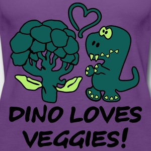 Dino Loves Veggies Broccoli T-Shirts - Frauen Premium Tank Top