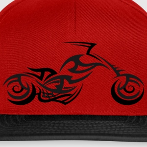 Tribal Tattoo Style Motorcycle Back Print T-Shirt - Snapback Cap
