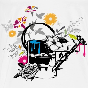 Sheet metal watering can with flowers and butterfl Other - Men's Premium T-Shirt