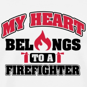 My heart belongs to a firefighter Other - Men's Premium T-Shirt