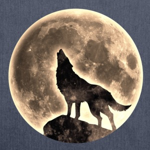Loup, pleine lune, wolf, moon, wild, sauvage, chien Tee shirts - Sac bandoulière 100 % recyclé
