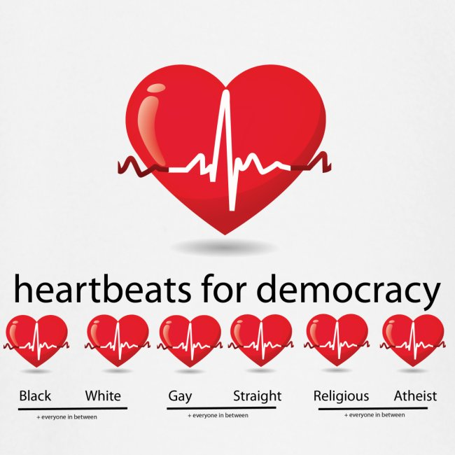 Mens tshirt with heartbeat for democracy