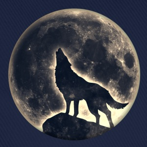 Wolf, volle maan, full moon, wolves, wild, hond T-shirts - Baseballcap