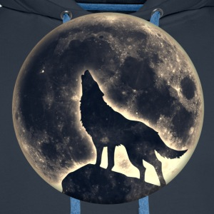 Wolf, volle maan, full moon, wolves, wild, hond T-shirts - Mannen Premium hoodie