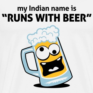 "My Indian name: ""Runs with Beer"" Long sleeve shirts - Men's Premium T-Shirt"