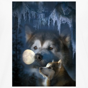 Alaskan malamute and the moon - Långärmad premium-T-shirt herr