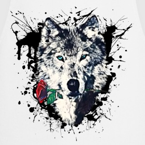 Wolf with Rose, Love Symbol, Varg, Freedom,  T-shirts - Förkläde