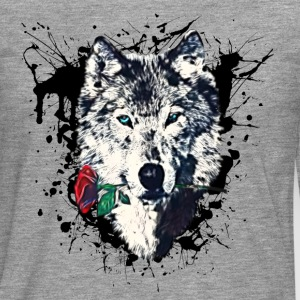 Wolf with Rose, Love Symbol, Wolves, Freedom,  T-Shirts - Men's Premium Longsleeve Shirt