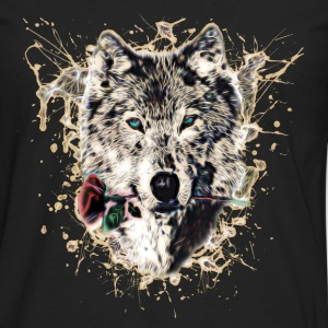 Wolf with Rose, Love Symbol, Wolves, Nature Hoodies & Sweatshirts - Men's Premium Longsleeve Shirt