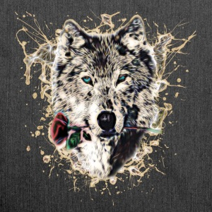 Wolf with Rose, Love Symbol, Loup, Nature Sweat-shirts - Sac bandoulière 100 % recyclé