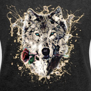 Wolf with Rose, Love Symbol, Ulv, Nature Sweatshirts - Dame T-shirt med rulleærmer