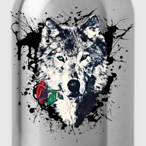 Wolf with Rose, Love Symbol, Wilk, Freedom,  Koszulki - Bidon