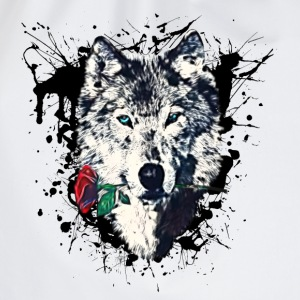 Wolf with Rose, Love Symbol, Wolves, Freedom,  T-shirts - Gymtas