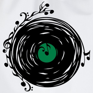 Vinyl record, music notes, bass, clef, key, party Magliette - Sacca sportiva