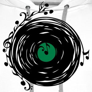 Vinyl record, music notes, bass, clef, key, party Magliette - Felpa con cappuccio premium da uomo
