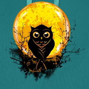 An owl in the forest under a full moon T-Shirts - Men's Premium Hoodie