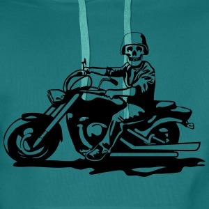Motorcycle chopper cool skull steel helmet T-Shirts - Men's Premium Hoodie