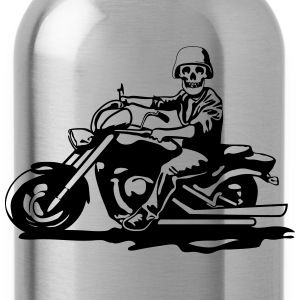 Motorcycle chopper cool skull steel helmet T-Shirts - Water Bottle