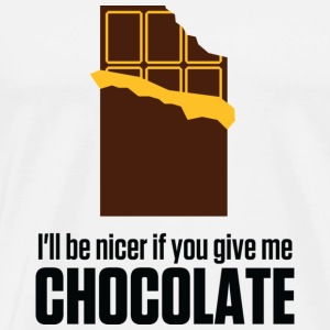 Give me chocolate. Then I am also friendly! Mugs & Drinkware - Men's Premium T-Shirt