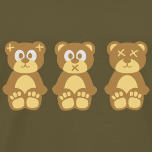 Three wise monkeys teddy bears Väskor & ryggsäckar - Premium-T-shirt herr