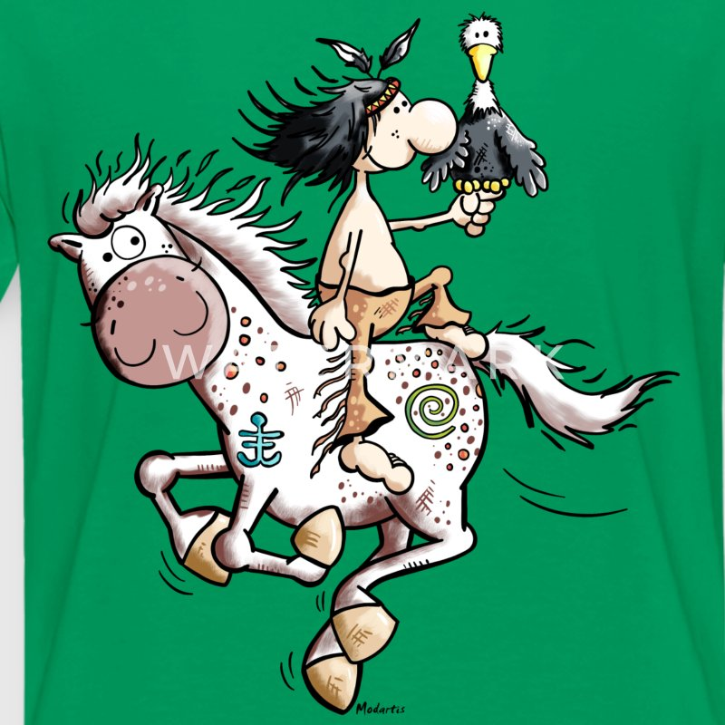 American Indian with wild horse Shirts - Kids' Premium T-Shirt